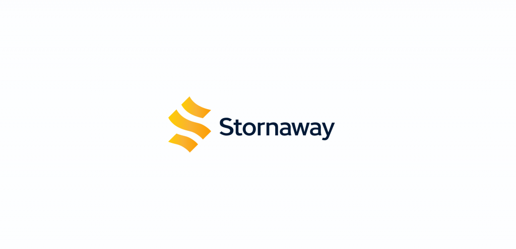 The Stornaway logo. Shapes form the letter S followed by the word Stornaway.