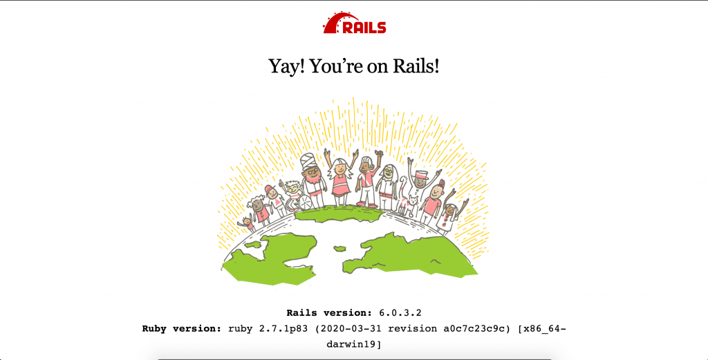 The Ruby on Rails initial screen.
