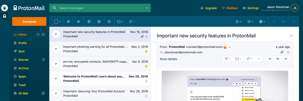 ProtonMail's UI on the web with the Vitamin C theme applied to it.